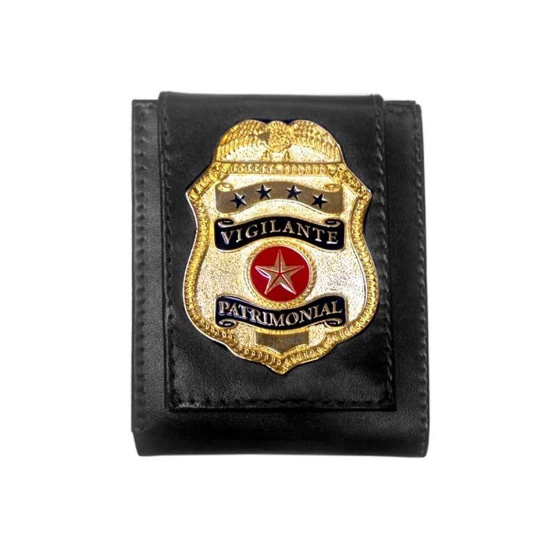 b29cb7344 carteira couro vigilante patrimonial com distintivo. Carregando zoom.