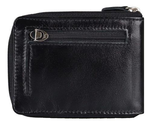 carteira de couro legítimo masculina fechamento c/ zíper 115