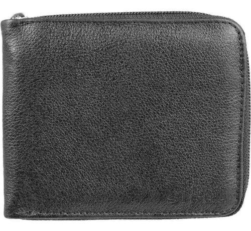 carteira de couro legítimo masculina fechamento c/ zíper