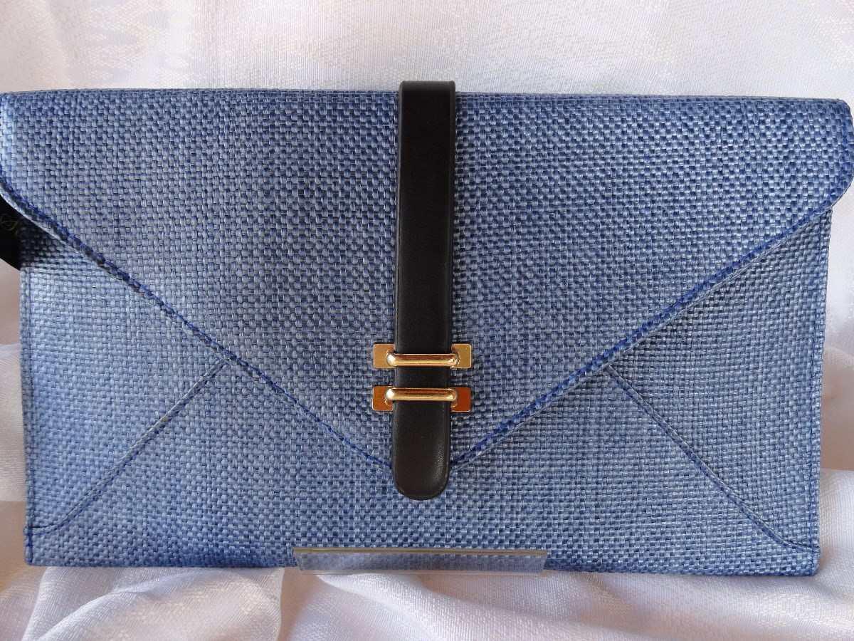 Bolsa De Mão Tipo Carteira : Carteira de m?o envelope tecido tipo palha azul r