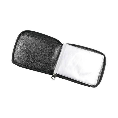 carteira em couro com zíper fasolo preta - h014