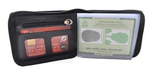 carteira fecho c/ziper couro legítimo para notas rg, cnh