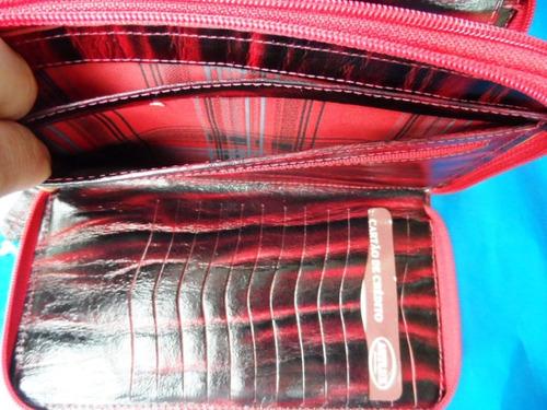 carteira feminina em couro legitimo original artlux vermelha