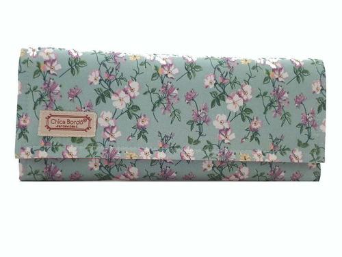 carteira feminina grande floral chica bordô 7003
