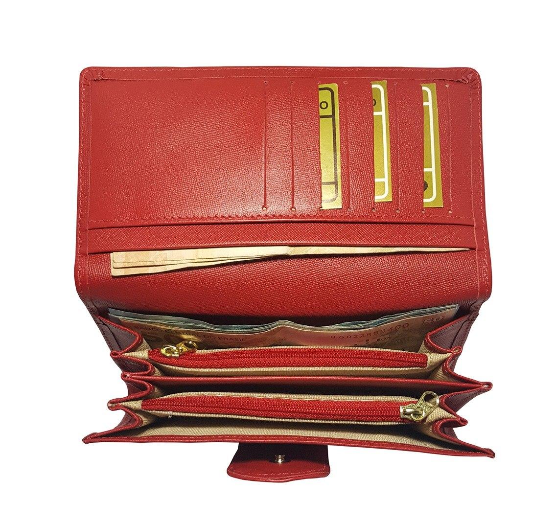 8d20dff93c carteira feminina grande vermelha de couro legítimo genuíno. Carregando  zoom.