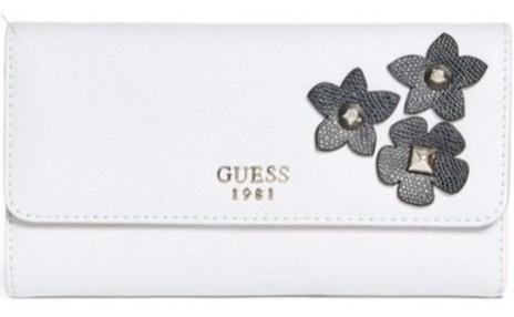 carteira feminina guess est.1981 branca florida original