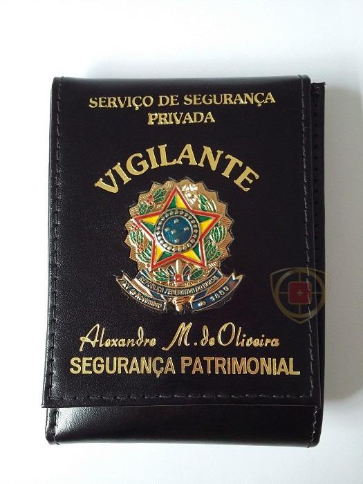 1a267d1c3 Carteira Funcional De Vigilante Personalizada Couro Legítimo - R ...