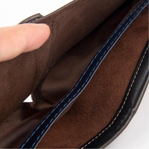 carteira masculina bolso executiva luxo couro pu trabalhado