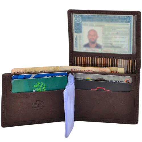 carteira masculina couro  kit 2+1 cinto black friday 70%