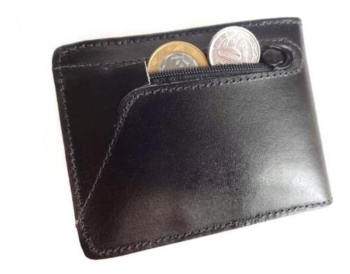 carteira masculina couro legítimo com fecho lançamento
