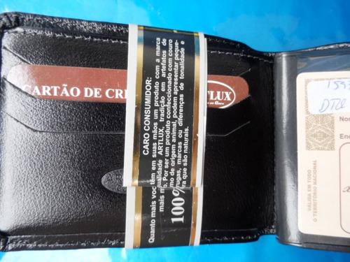 carteira masculina couro legitimo orig artlux preta  #324d