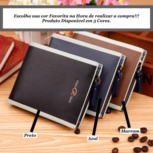 carteira masculina couro pu legitimo marrom azul ou preto