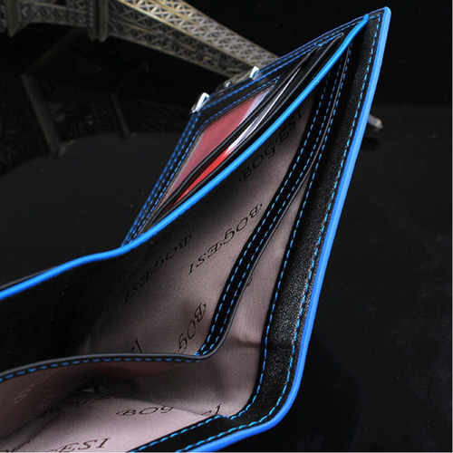 carteira masculina couro pu trabalhada + costura + metal