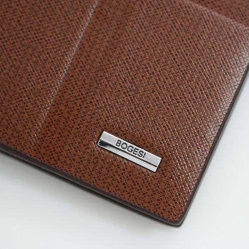 carteira masculina de couro pu marrom + costura + metal