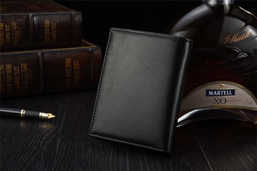 carteira masculina de couro pu preto e marrom luxo original