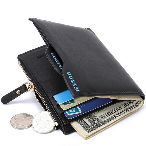 carteira masculina de couro zíper dinheiro documentos bogesi