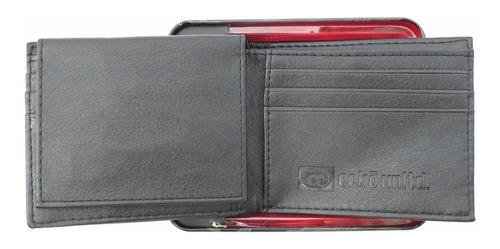 carteira masculina eckõ unltd. passcase preta logotipo eckõ