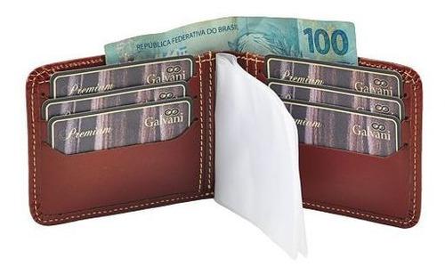 carteira masculina em couro legítimo 1020 * galvani *