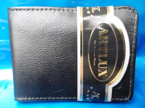 carteira masculina em couro legitimo original artlux preta