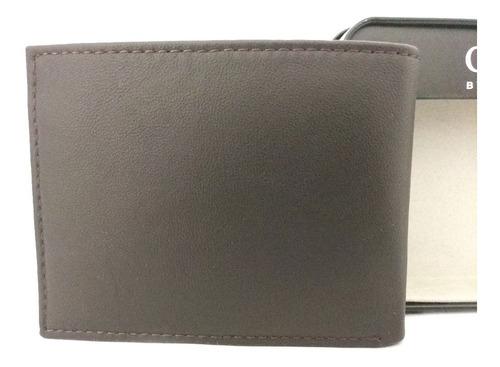 carteira masculina guess passcase billfold marrom original