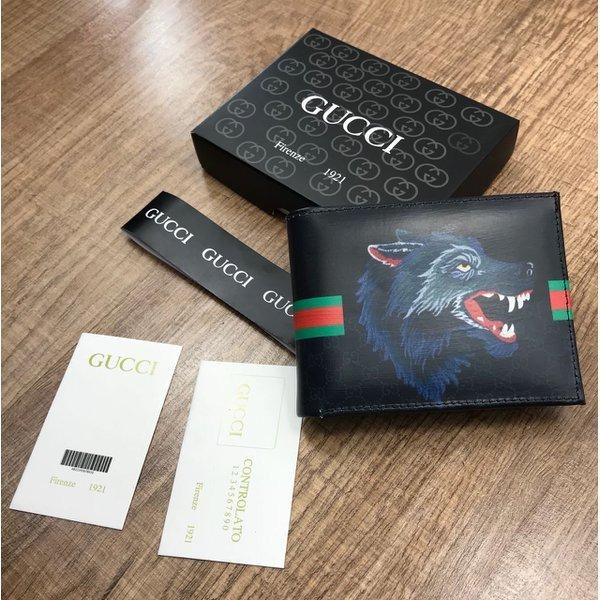 c50195c688 Carteira Masculina Marca Gucci Lobo Couro Frete Grátis - R$ 139,00 ...