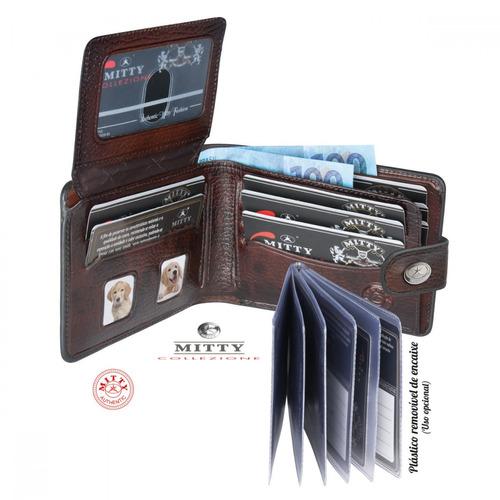 carteira masculina mitty couro toscani listras metal m1fr