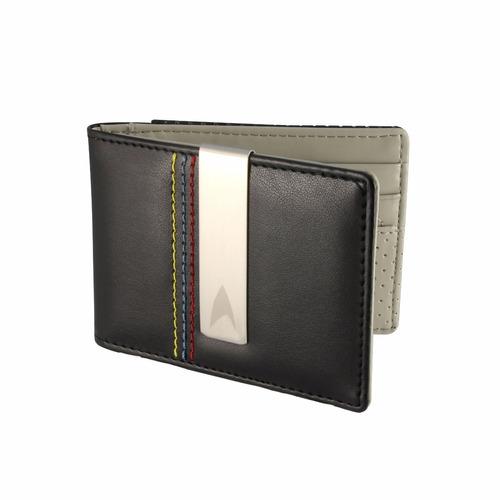 carteira masculina star trek com costura tricolor e clipe