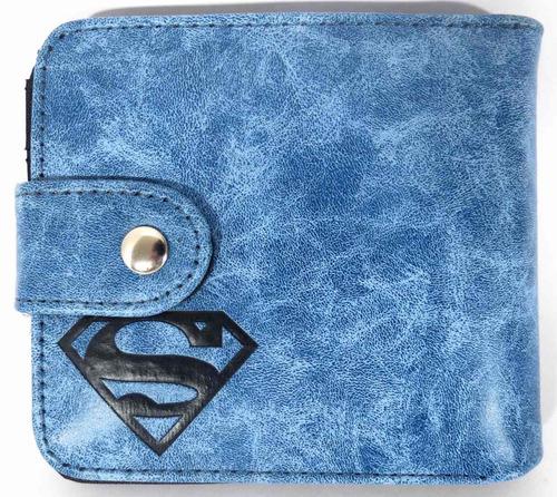 carteira masculina super homem azul com lapela