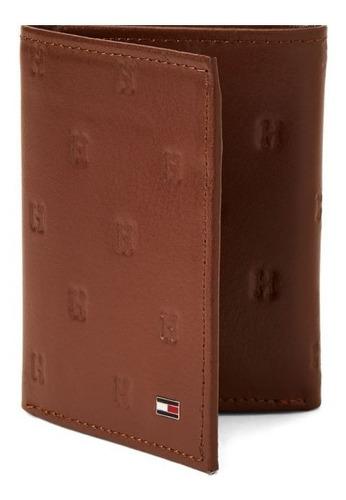 carteira masculina tommy hilfiger trifold marrom original