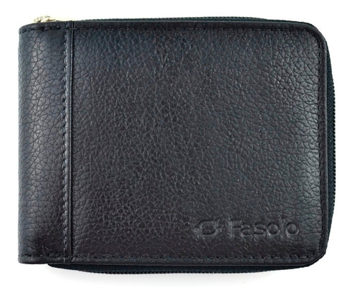 carteira masculina zíper couro legitimo original fasolo h014