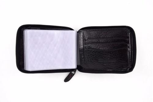carteira mitty com ziper  couro   preta -  m1z