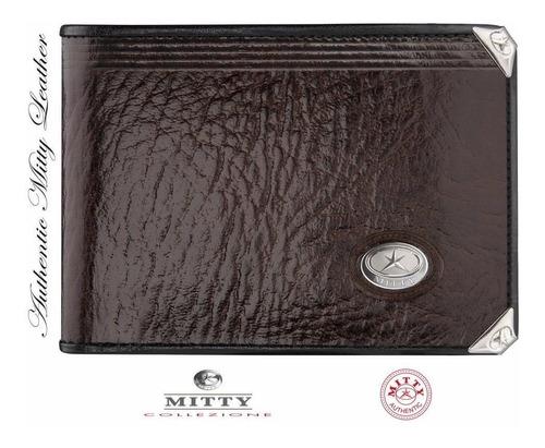 carteira mitty couro cafe com cantoneira -  m1