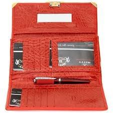 carteira mitty couro + chaveiro feminino vermelha - m29tch