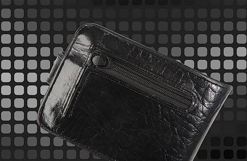 carteira mitty couro com cantoneira preta -  m2f