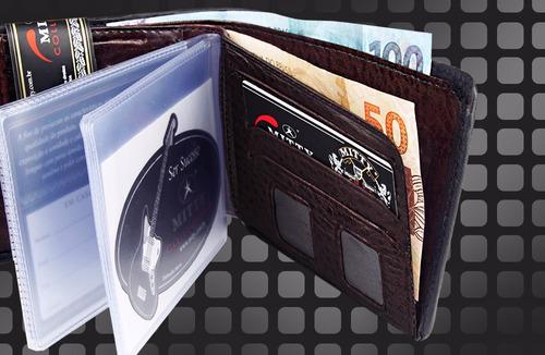 carteira mitty couro com cantoneira preta +refil plm2 - m2
