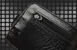 carteira mitty couro preta com cantoneira - m1f