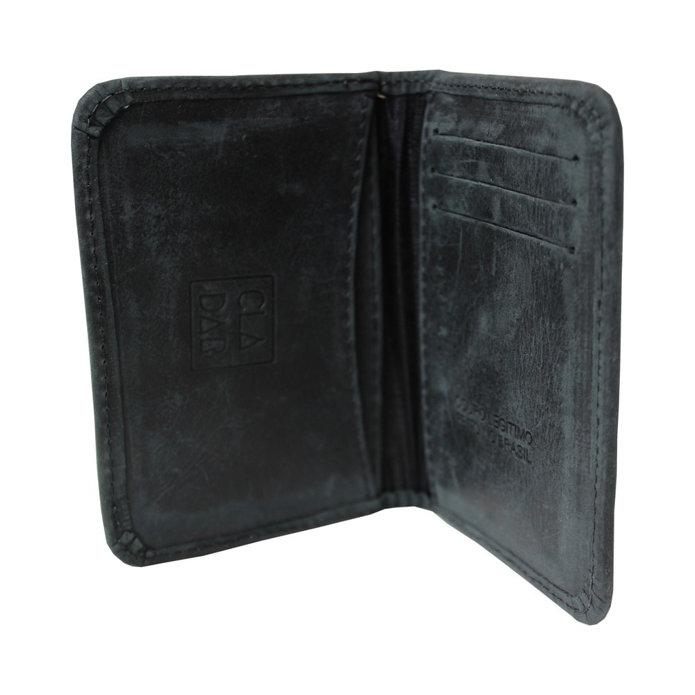 aace39b8fb Carteira Porta Cartões Couro Legítimo Preta - R$ 49,90 em Mercado Livre