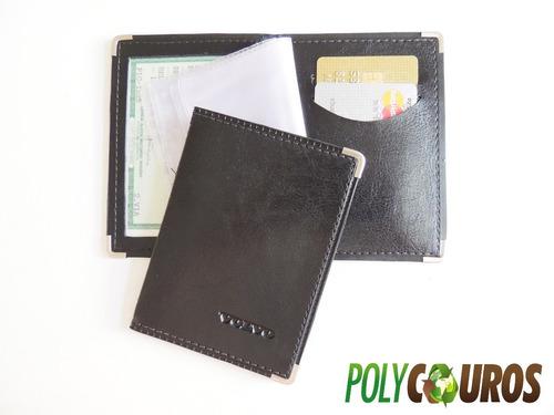 carteira porta documentos c/ logo da volvo baixo relevo!