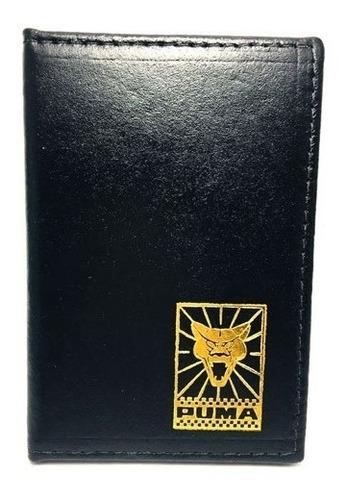 carteira porta documentos puma emblema dourado courvim