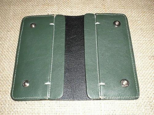 carteira slim feminina - couro legítimo - cor verde bandeira