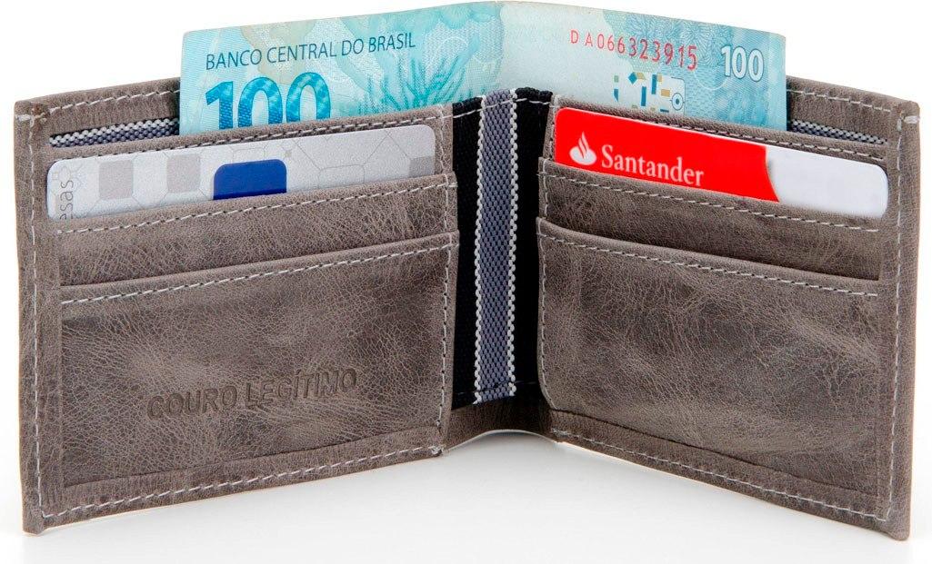 e3ec13c954 carteira social masculina pequena em couro legítimo cinza. Carregando zoom.