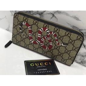 d850b8920 Carteira Gucci Serpente Feminina Couro Canvas-pronta Entrega
