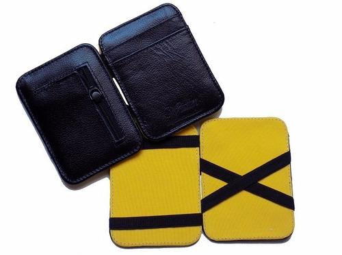 carteiras mágica de couro 100% legítimo - 5 carteiras