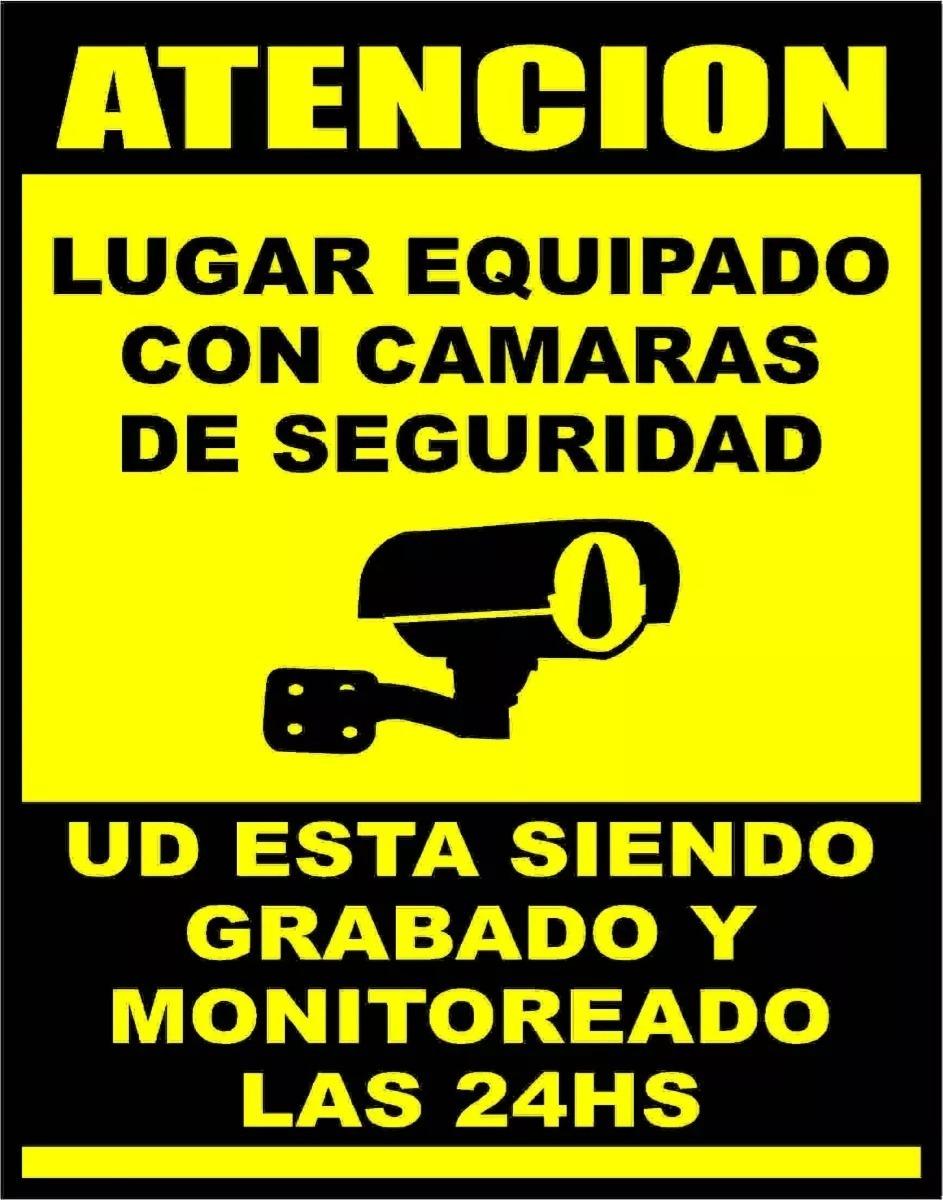 Cartel 20x25 atencion camaras de seguridad 350 00 en - Camaras de vigilancia con grabacion ...