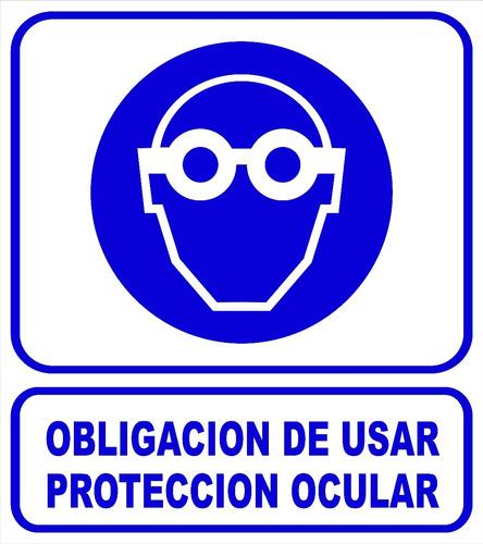 cartel 22x28 cm obligación de usar protección ocular