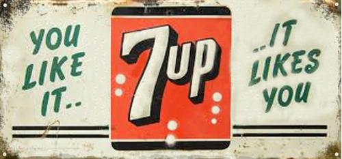 cartel antiguo chapa 7up grande 112x52cm chapa gruesa 1,25mm