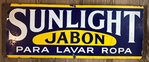 cartel antiguo enlozado sunlight. jabón para lavar. 71456