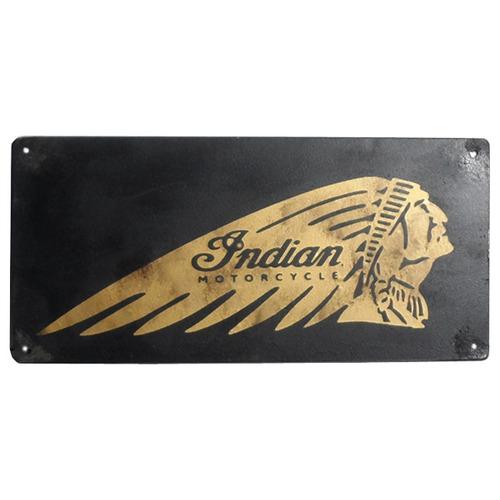 cartel antiguo moto indian 38x18cm de chapa gruesa (0.89mm)