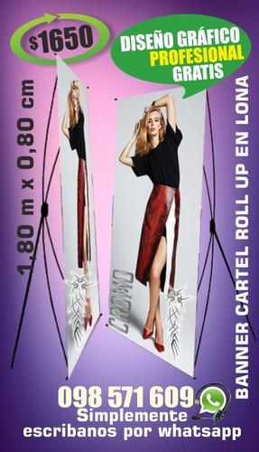 cartel banner con soporte impresión en lona diseño gratis