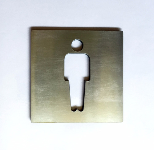 cartel baño hombre puerta toilette inoxidable 4mm eme